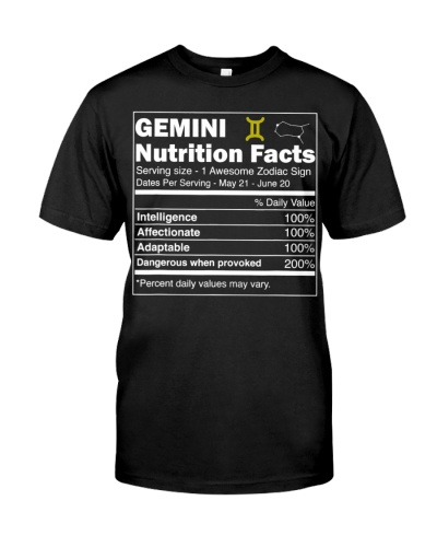 Gemini Shirt Nutrition Facts Astrology Zodiac Sign