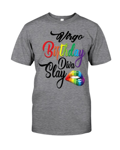Womens Rainbow Lips Graphic Virgo Girl Birthday