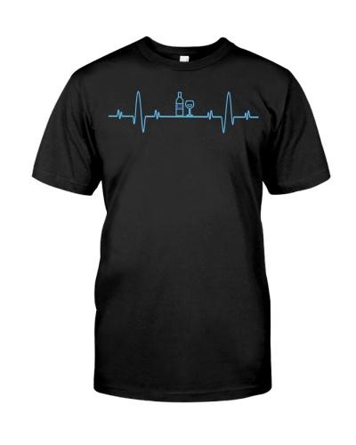 Funny Wine Heartbeat Shirt - Wine Lover Men Women