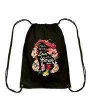 All i need is love and a Boxer  Drawstring Bag thumbnail