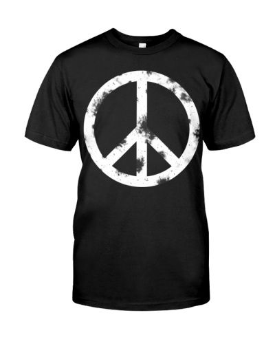 Distressed Hippie Peace Sign T-shirt White Vintage