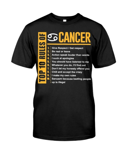Top 10 Rules of Cancer Birthday Gifts T-Shirt