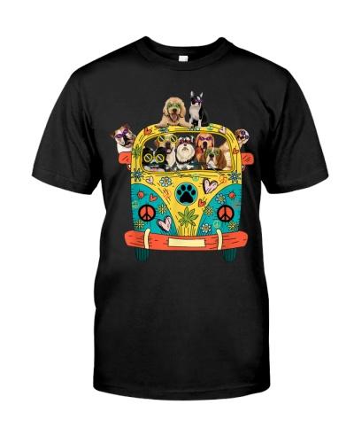 Peace Love Dogs Hippie Van Shirt Funny Tropical