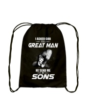 I Asked God For a Great Man Drawstring Bag tile