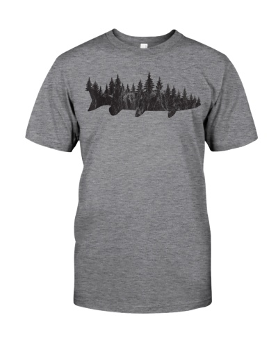 Musky Pine Forest Treeline Outdoor Fishing Angler