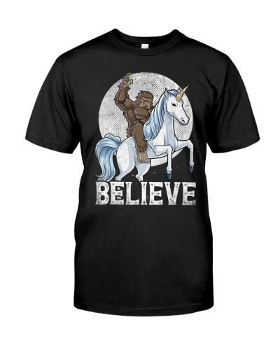 Bigfoot Riding Unicorn T-Shirt Funny Sasquatch