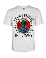 I Dont Believe In Humans V-Neck T-Shirt thumbnail