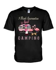 I Think Quarantier Is Spell V-Neck T-Shirt thumbnail