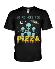 We Are Here For Pizza V-Neck T-Shirt thumbnail