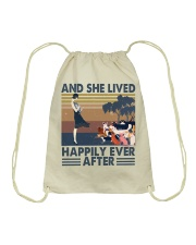 And She Lived Happily Drawstring Bag tile