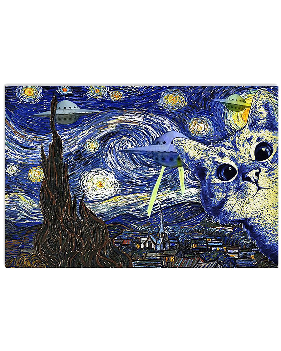 Cat And UFO Starry Night 17x11 Poster