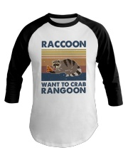 Raccoon Want To Crab Baseball Tee thumbnail