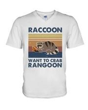 Raccoon Want To Crab V-Neck T-Shirt thumbnail