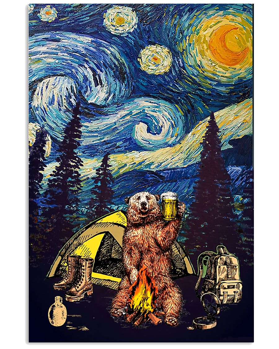 Beer With Bear Camping Poster 11x17 Poster