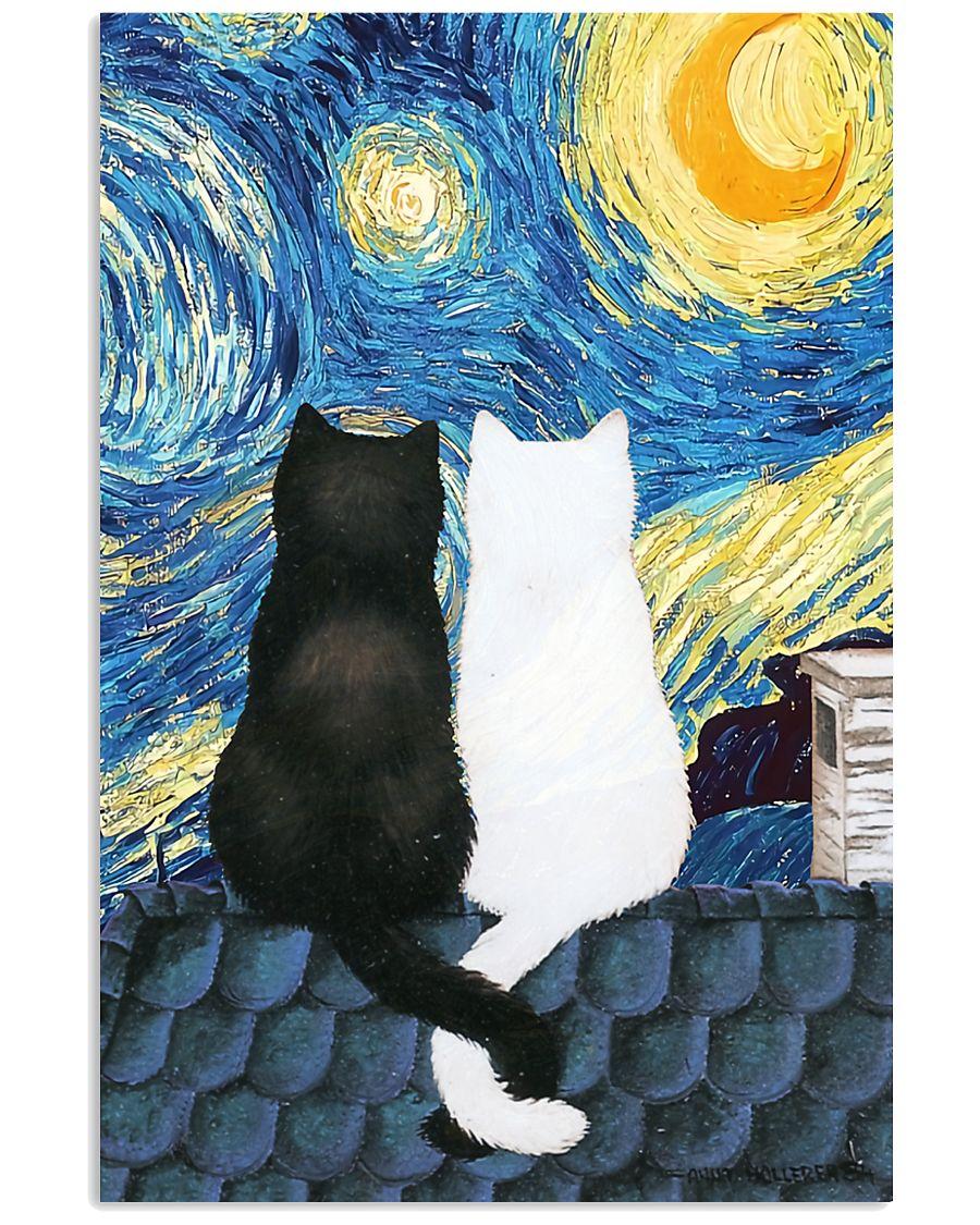 Cats Love Starry Night Art 11x17 Poster