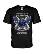 He Will Cover You With His Feathers V-Neck T-Shirt thumbnail