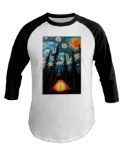 Camping Starry Night Art Poster Baseball Tee thumbnail
