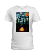 Camping Starry Night Art Poster Ladies T-Shirt thumbnail