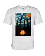 Camping Starry Night Art Poster V-Neck T-Shirt thumbnail