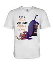 Just A Girl Who Loves Books V-Neck T-Shirt thumbnail