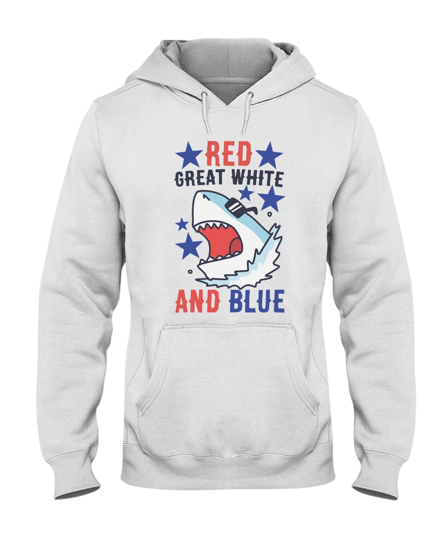 Red Great White And Blue Hooded Sweatshirt