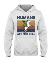 Humans Are Not Real Hooded Sweatshirt front