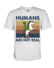 Humans Are Not Real V-Neck T-Shirt thumbnail