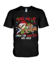 Wake Me Up Lazy Sloth V-Neck T-Shirt thumbnail