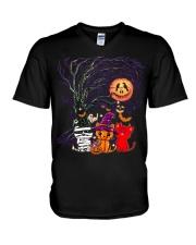 Halloween Cat V-Neck T-Shirt thumbnail