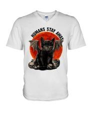 Humans Stay Away V-Neck T-Shirt thumbnail