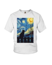 Cat Starry Night Art Poster Youth T-Shirt thumbnail