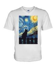 Cat Starry Night Art Poster V-Neck T-Shirt thumbnail