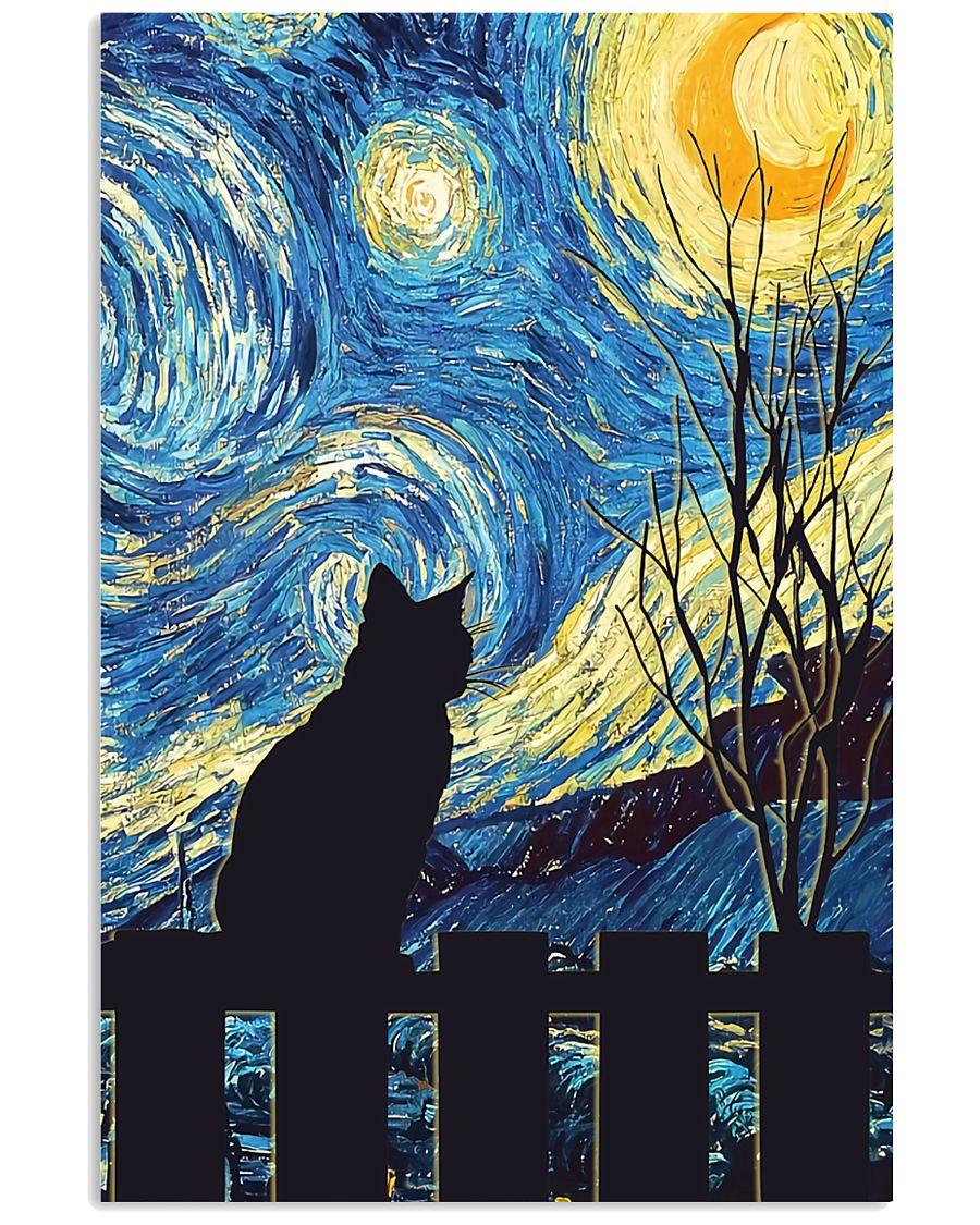 Cat Starry Night Art Poster 11x17 Poster