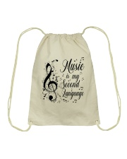 Music Is My Second Language Drawstring Bag thumbnail