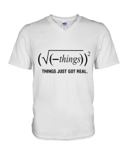 Things Just Got Real V-Neck T-Shirt tile