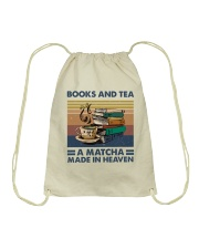 Books And Tea A Matcha Drawstring Bag thumbnail