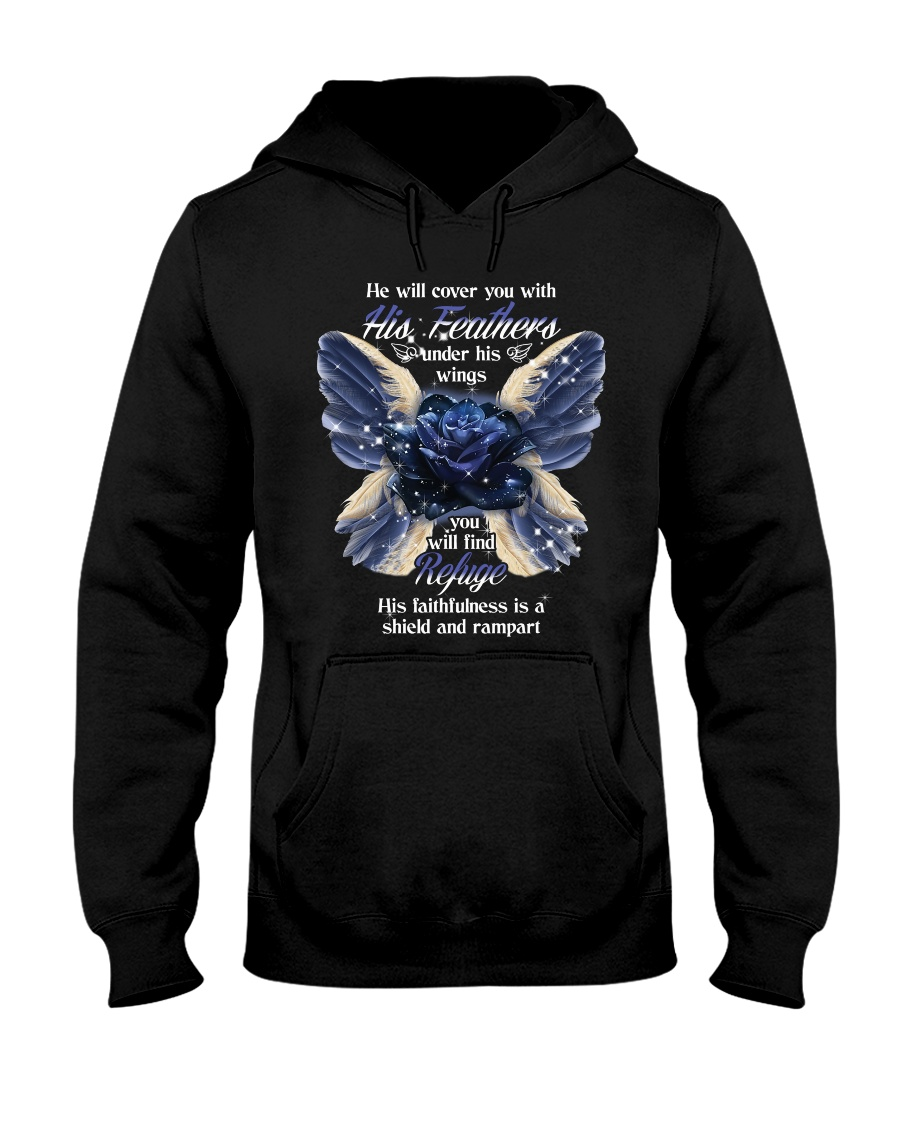 He Will Cover You With His Feathers Hooded Sweatshirt