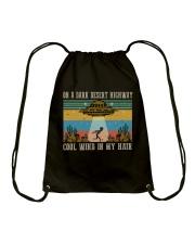 On A Dark Desert Highway Drawstring Bag thumbnail