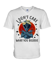 I Dont Care What You Believe V-Neck T-Shirt thumbnail