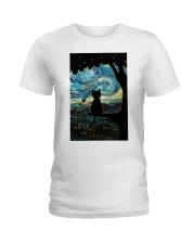 Cat Starry Night Art Poster Ladies T-Shirt thumbnail