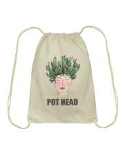 Pot Head Cactass Girl Drawstring Bag thumbnail