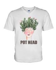 Pot Head Cactass Girl V-Neck T-Shirt thumbnail