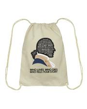 Who Lives Who Dies Drawstring Bag thumbnail