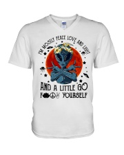 Im Mostly Peace Love Light V-Neck T-Shirt thumbnail