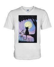Cat And Moon Art V-Neck T-Shirt thumbnail