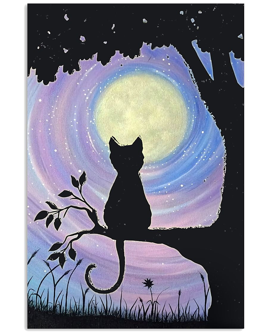 Cat And Moon Art 11x17 Poster