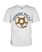 Satanic Pizza V-Neck T-Shirt thumbnail