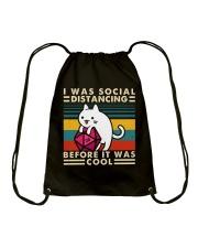 I Was Social Drawstring Bag thumbnail