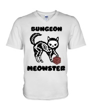 Bungeon Meowster V-Neck T-Shirt thumbnail