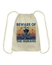 Beware Of The Humans Drawstring Bag thumbnail